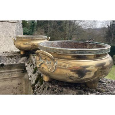 Pair Of Bronze Planters