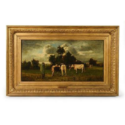 """Oil On Canvas """"le Vacher"""" From The End Of The XIXth Century Signed Constant Troyon"""
