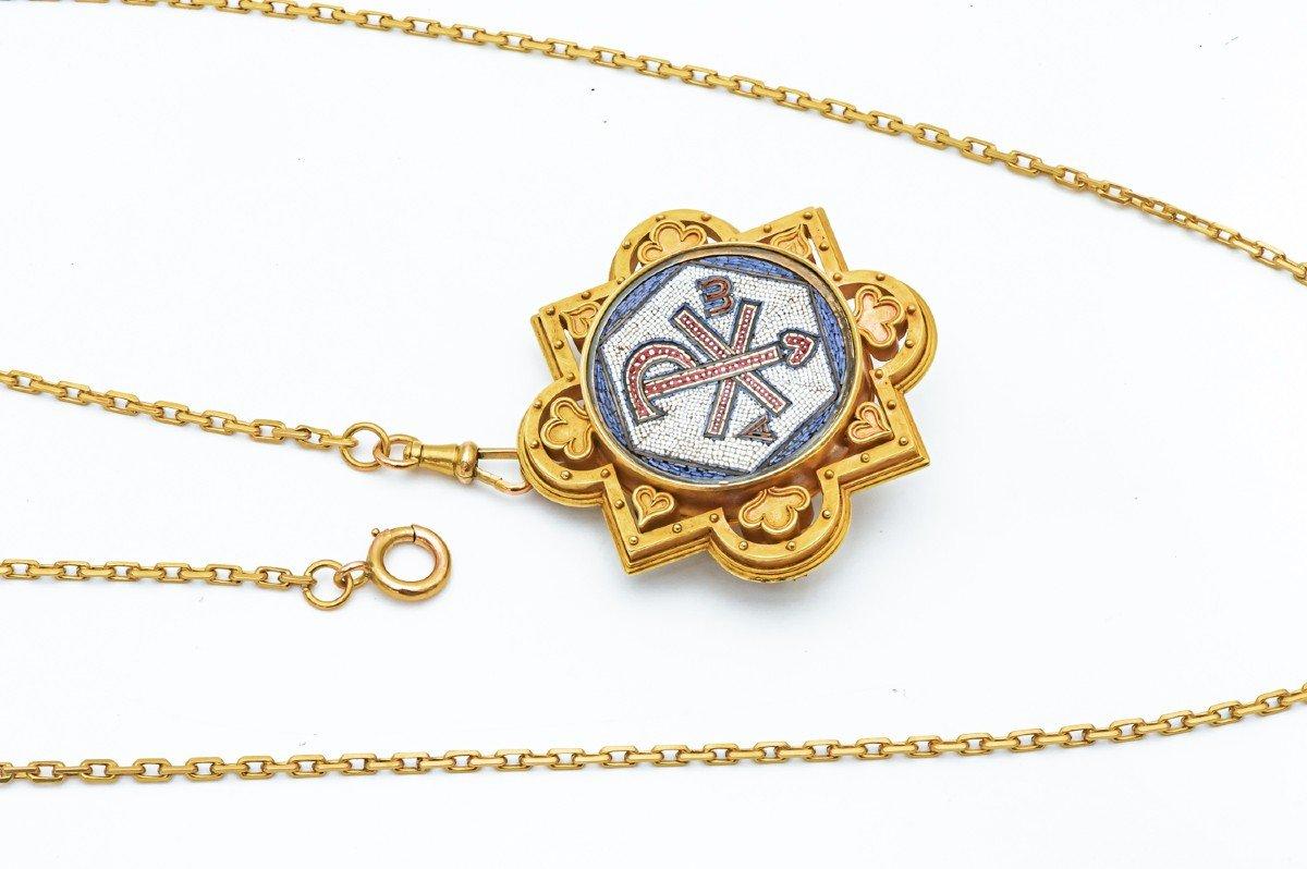 Antique Broche Religieuse Micro Mosaïque Or Jaune 18k -photo-4