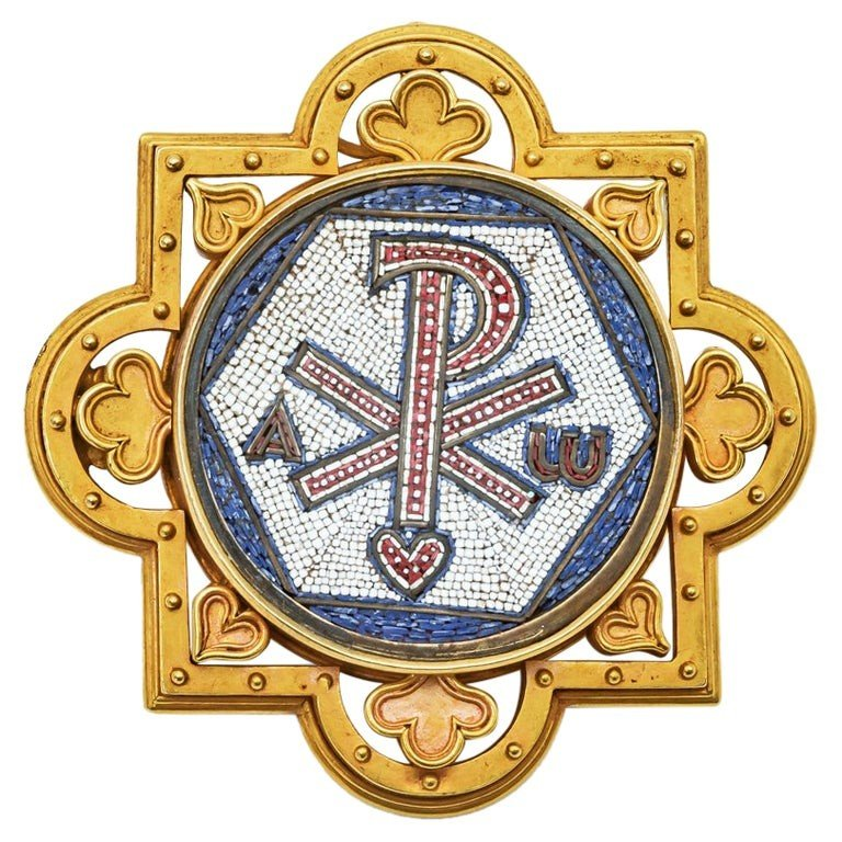 Antique Broche Religieuse Micro Mosaïque Or Jaune 18k