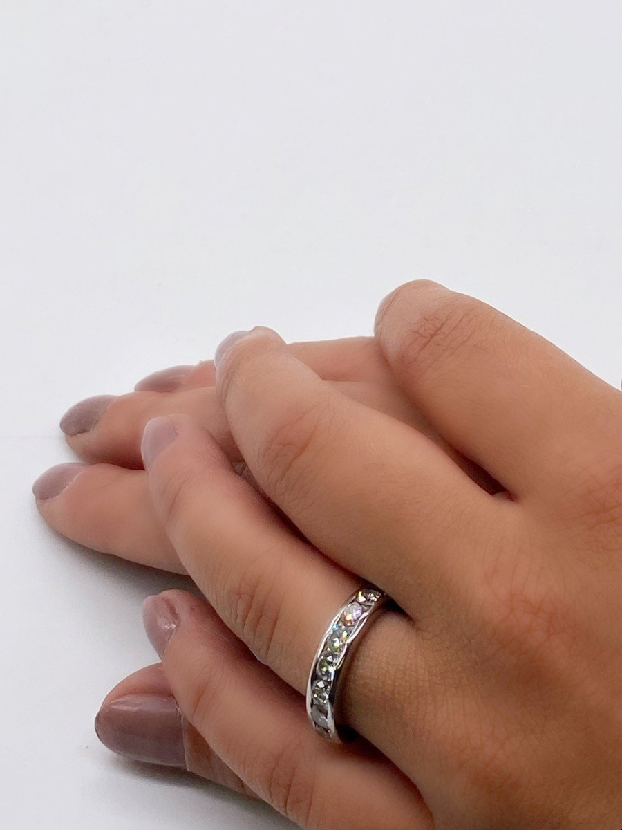 Bague De Fiançailles En Or Blanc 18 Carats Avec 8 Diamants De 0,16 Carats-photo-2