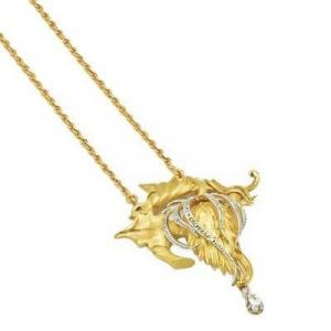 Brooch Pendant In 18k Yellow And White Gold And Diamonds On Necklace Or Chain