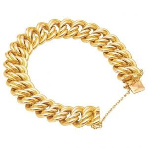 Bracelet Américain En Maille Ou En Bras, En Or Jaune 18k Avec Chaîne