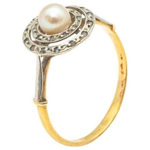 Bague En Or Jaune Et Blanc 18 Carats Avec Diamants Taille Rose Et Perles Fines