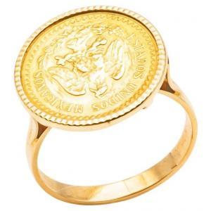 Estados Unidos Mexicana 2 Pesos 24k Yellow Gold Coins Ring