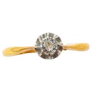 Bague Solitaire En Or Jaune Et Or Blanc 18k Avec Un Diamant