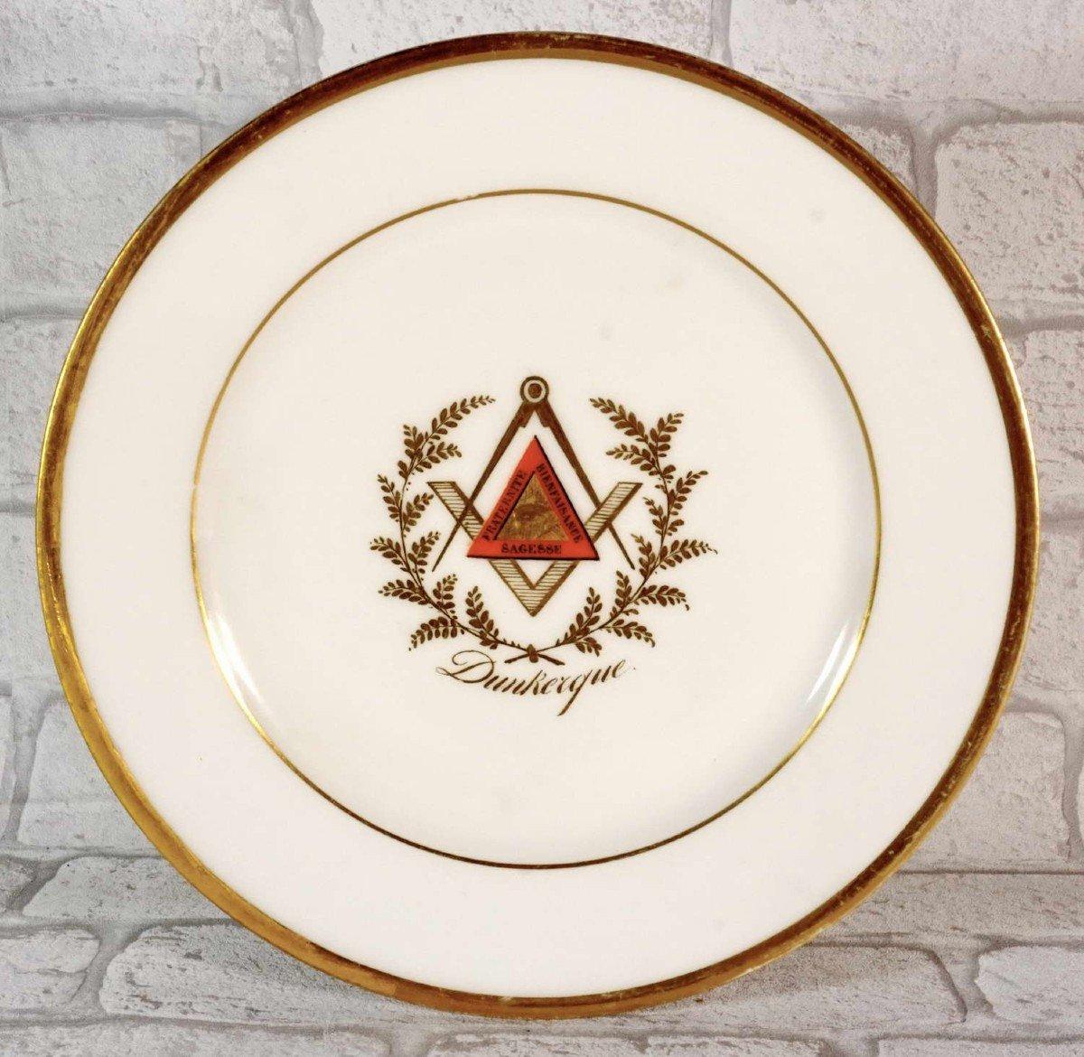 Assiette en Porcelaine de Paris - Franc Maçonnerie de Dunkerque - Ep. 1ere Moitie XIXe-photo-4