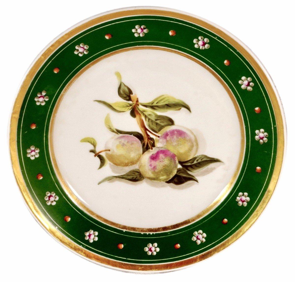 Assiette à Décor De Fruits En Porcelaine De Paris - Ep. Restauration (circa 1830)