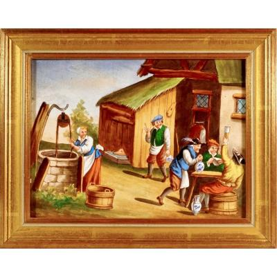 Porcelain Plate - Village Scene After Teniers - Ep. XIXth