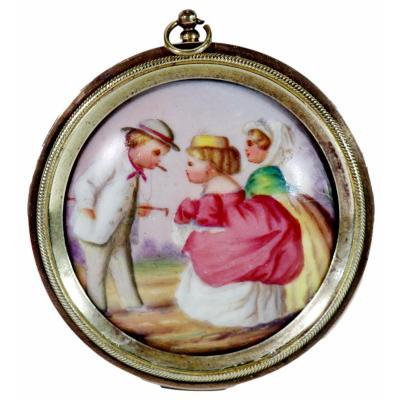 Petit Médaillon / Pendentif  Miniature En Porcelaine De Paris - Ep XIXe