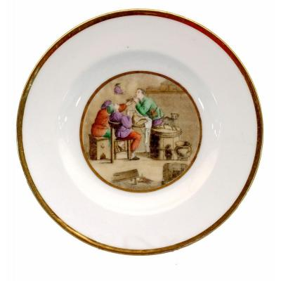 Small Plate - Paris Porcelain - Manufacture De Dagoty Et Honore - Ep. Early Nineteenth