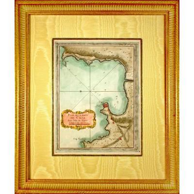 Corsica - Rare Marine Chart Engraving - Plan Of The Baye De Calvi In The Isle Of Corsica - Ep. XVIII