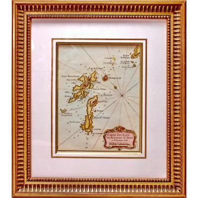 Carte Marine Gravure Des Iles de Rotonau St Jean et Château d'If - Env.  Marseille - Ep. XVIIIe