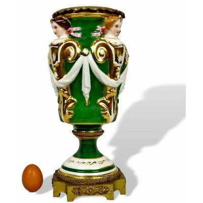 Large Decorative Porcelain Vase From Paris Or Limoges - Ep. XIXth
