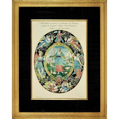 Grande Gravure représentant Un Médaillon en Émail de la Fabrique de Limoges - Ep. XIXe