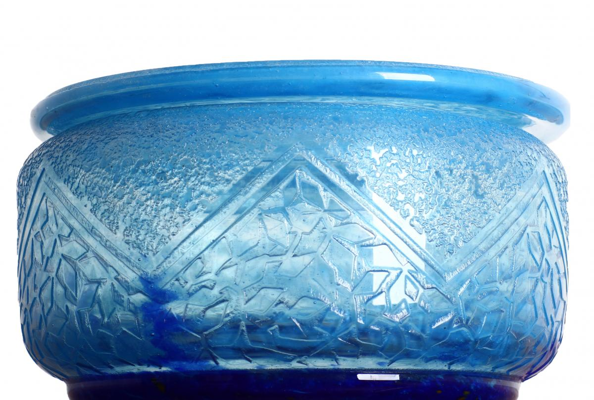 Large Covered Candy Box Signed Daum Nancy Art Deco