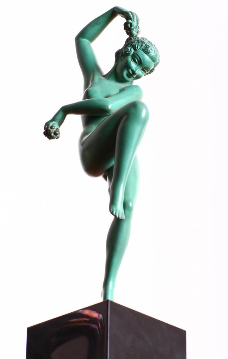 Sculpture Max Le Verrier Modèle Vendanges Signée Denis Art Deco 1930