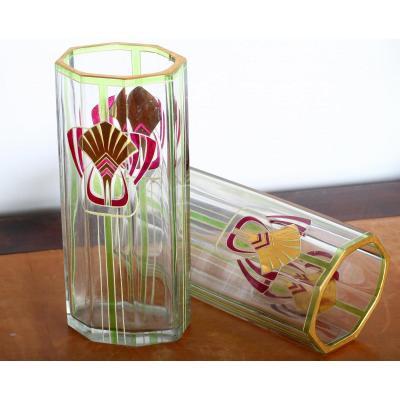 Paire De Vases Jugendstil Art Nouveau 1900