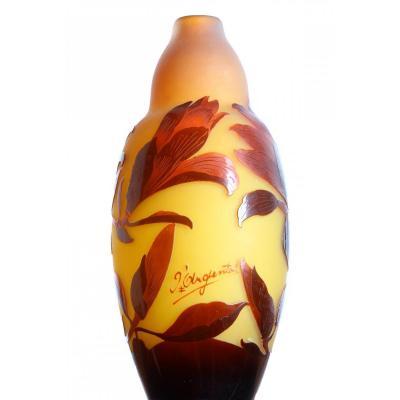 Vase Aux Magnolias Signé d'Argental 1900 Art Nouveau