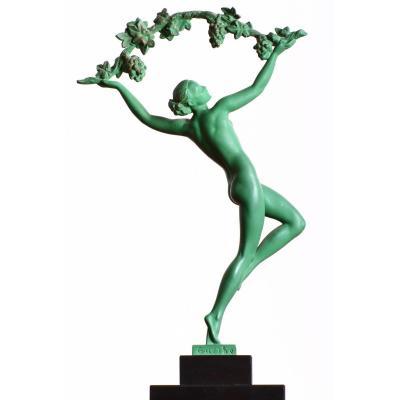 Sculpture Max Le Verrier Modèle Griserie Signée Guerbe Art Deco 1930