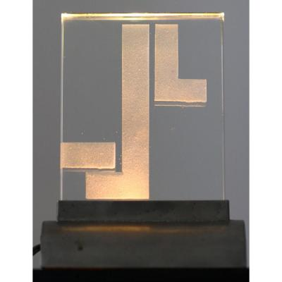 Cubist Night Lamp Attributed To Jean Luce Art Deco