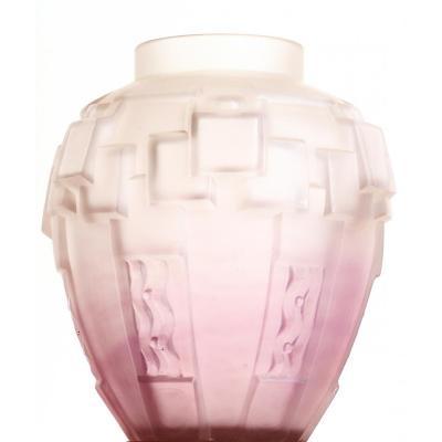Vase Charles Schneider Modernist Cubist French Glass Art Deco