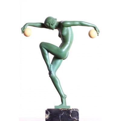 Sculpture Danseuse Aux Boules Signé Denis Le Verrier Art Deco 1920