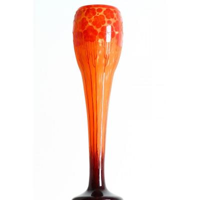 Monumental Vase Cardamine Signé Le Verre Français Charles Schneider Circa 1924-1927