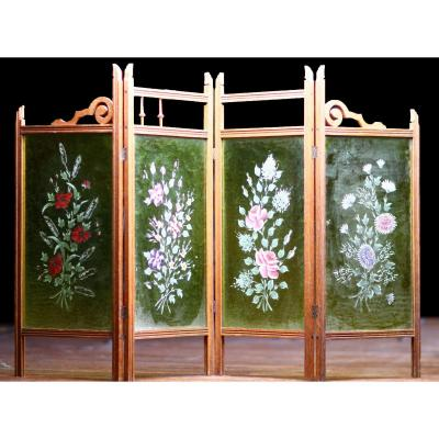 Screen 4 Leaves In Painted Glass And Wood Decorated With Plants And Flowers Jugendstil
