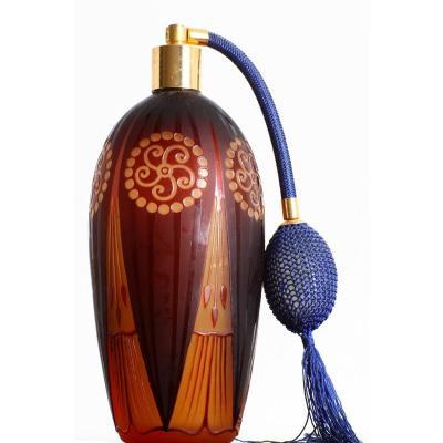 Perfumer Glass Spray d'Argental  Paul Nicolas (1875-1952) Nancy Art Deco