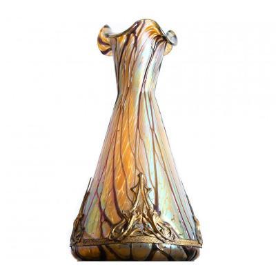 Iridescent Pallme-könig Vase Bohemia-  Art Nouveau Loetz