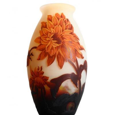 Vase With Dahlias Signed Muller Frères Lunéville - Art Nouveau Circa 1920