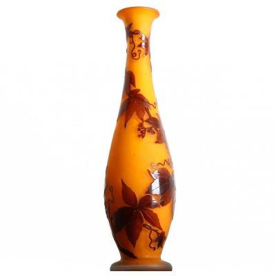 Tall Glass Vase With Vine Pattern André Delatte Nancy (1887-1953) - Art Nouveau