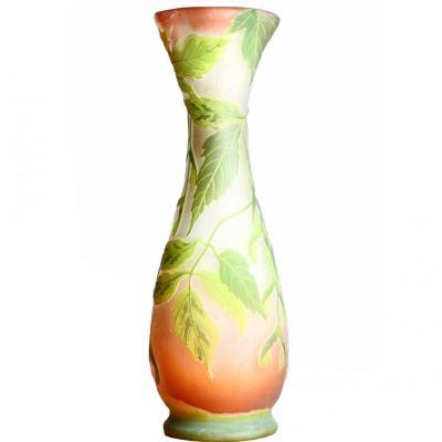 Grand Vase Aux Feuilles d'Erable Signé Emile Gallé (1846-1904) - Art Nouveau