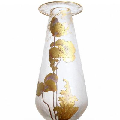 Haut Vase Vase Legras Cie And Montjoye Saint-denis Golden Poppies 1900 - Art Nouveau