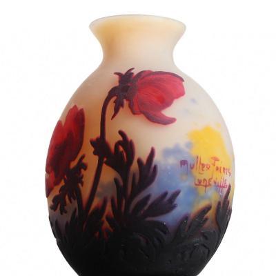 Vase Aux Anémones rouges Signé Muller Frères Lunéville - Art Nouveau Circa 1920
