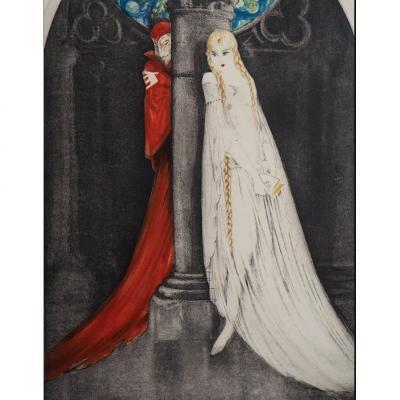 Aquatint Faust 1928 Lithograph By Louis Icart (1888-1950) - Art Deco
