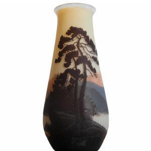 Grand Vase Décor Vosgiens Signé Muller Frères Lunéville - Art Nouveau Circa 1920