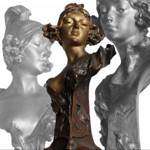 Grande Sculpture Bronze Buste d'Une Jeune Femme Art Nouveau Signé Henri Jacobs  Circa 1904