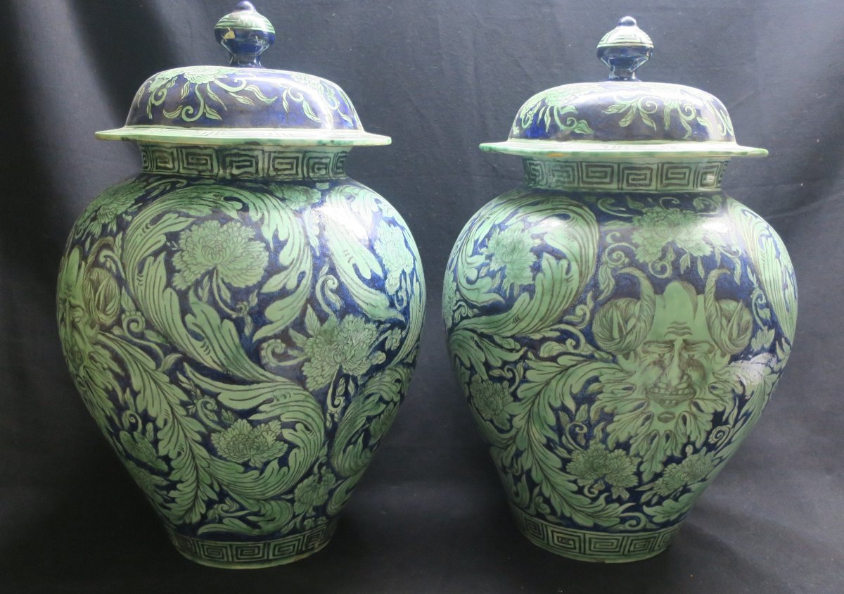 Pair Of Covered Pots