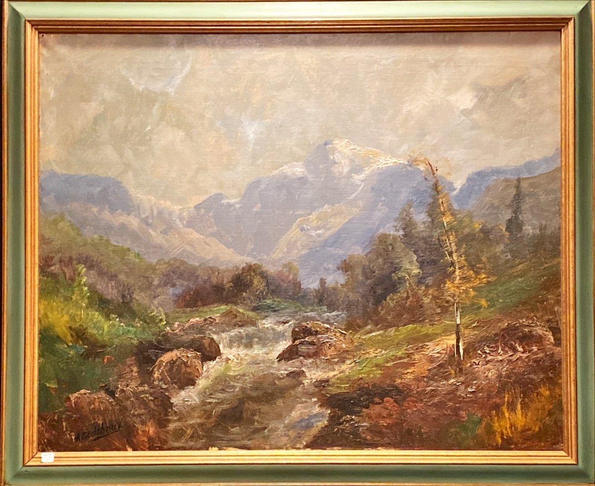 Tableaux, Paysage De Montagne Signé A Godchaux