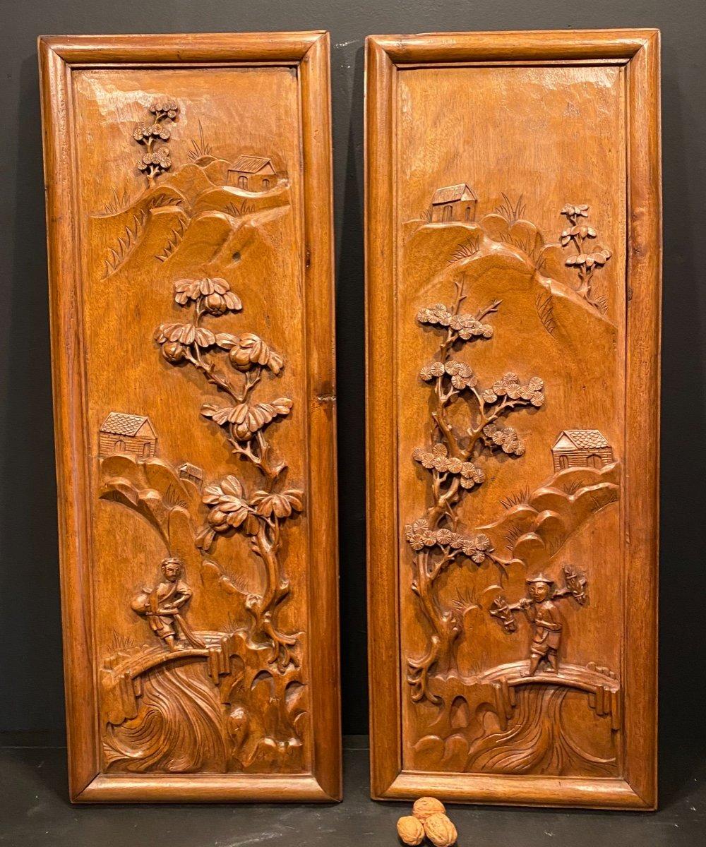 Paire De Panneaux En Bois Exotique Sculpté, Asie