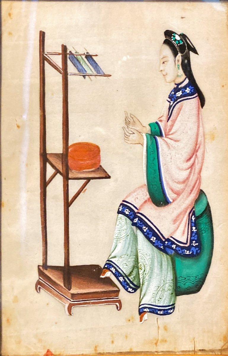 Petit Tableau : Femme à Son Ouvrage-photo-3
