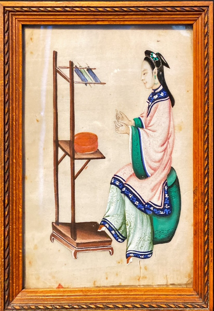 Petit Tableau : Femme à Son Ouvrage