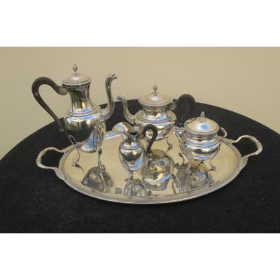 Tea And Coffee Service In Sterling Silver And Its Tray