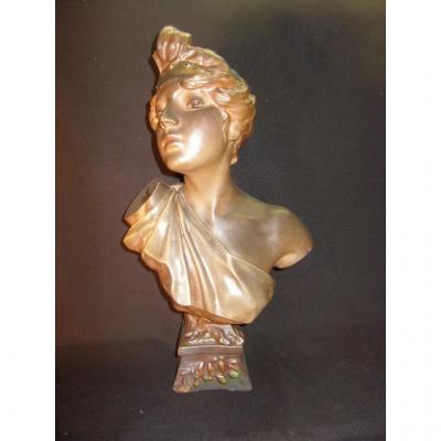 Buste Art Nouveau En Plâtre De Thais