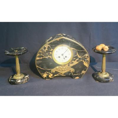 Art Deco Clock And Its Two Cups