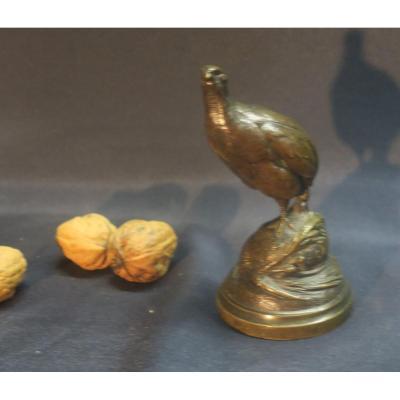 Petite Caille En Bronze Par Cain