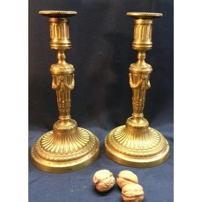 Pair Of Louis XVI Candlesticks In Gilt Bronze