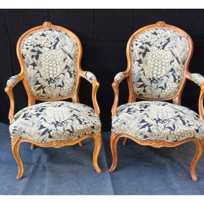 Two Louis XV Cabriolet Armchairs